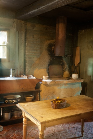 rustic kitchen: Antique kitchen of 1900 in the eco museum of Ungersheim, Alsace, France