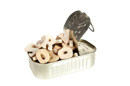 sardine can: Sardine can filled with wooden letters of the alphabet