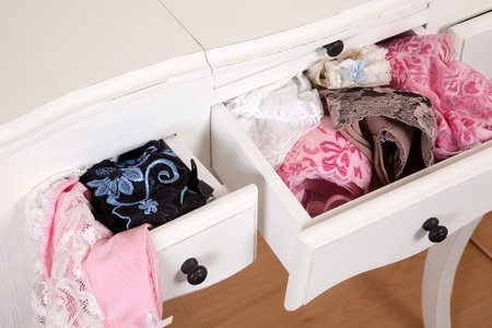Vintage drawers filled with sexy lace lingerie Stock Photo - 12999575