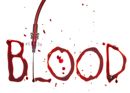 spatter: IV drip with the word BLOOD in bloody dripping letters