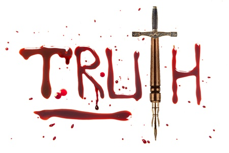 blood dripping: Fountain pen and sword and bleeding letters of truth Stock Photo