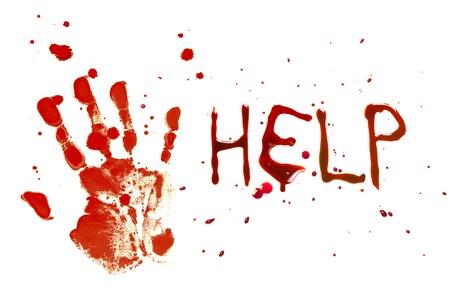 bloody hand print: Huella de sangre de una mano sangrando sobre un fondo blanco con las letras AYUDA Foto de archivo