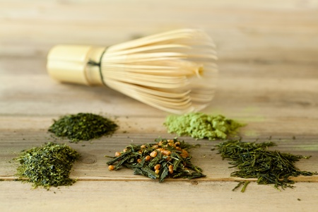 green powder: Different kinds of Japanese tea with bamboo whisk