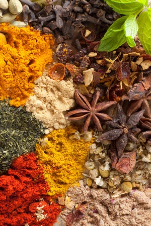 dried herbs: Background filled with colorful spices and herbs
