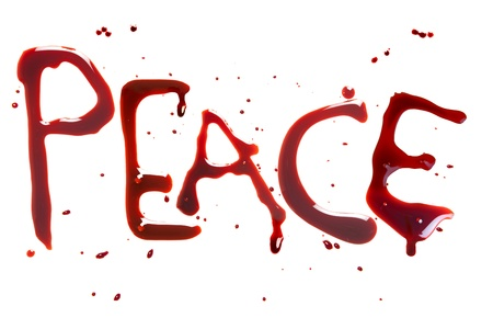 bloodstain: Bleeding letters showing the word for Peace