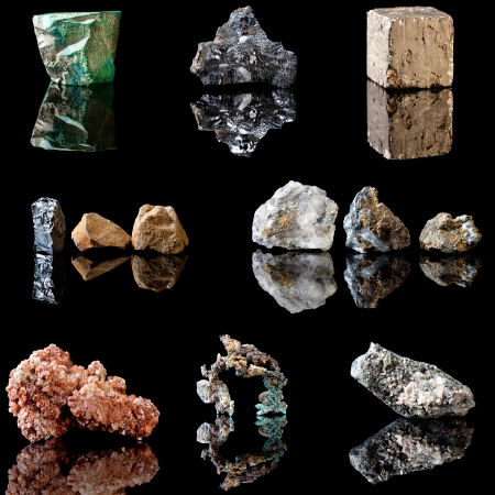 Series of metal containing minerals in rough unpolished state.  Malachite, Galenite, Pyrite, Hematite, Chalcopyrite, Vanadinite, Copper and Arsenopyrite Stock Photo - 13859804