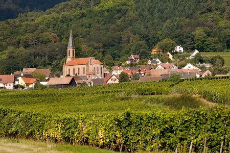 Husseren-les-Chateaux village along the famous wine route in Alsace, France Stock Photo - 13976258