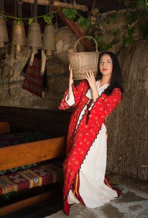 bulgarian ethnicity: Beautiful woman wearing the traditional bulgarian folklore costume