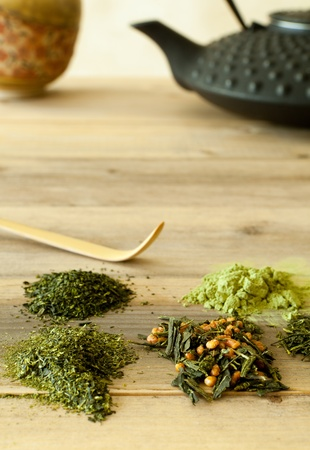 teas: Different sorts of Japanese green teas in leaf form and powder Stock Photo