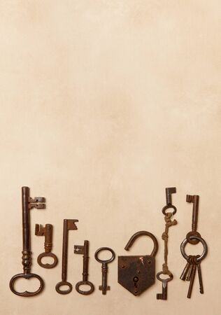 Copy space border made of rusty old keys photo