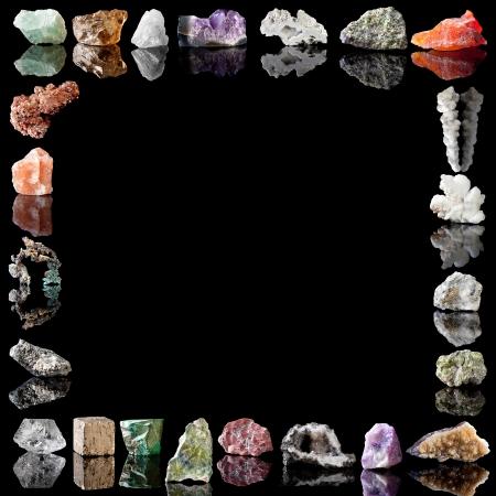Border image of semi-precious gemstones, metals and minerals  Fluorite, Smokey Quartz, Milky Quartz, Amethyst, Agate, Olivine, Chalcedone, Salt stalactite, Aragonite, Chalcopyrite, Peridote, Citrine, Fluorite, Goethite, Jasper, Wavellite, Malachite, Pyrit Stock Photo - 14243618