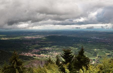 valley below: Valley below Mont Sainte Odile monastery built on a rock near Ottrot, Alsace, France