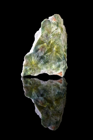 semi precious: Green prismatic crystals of wavellite, a phosphate mineral, growing in radial clusters, found in England