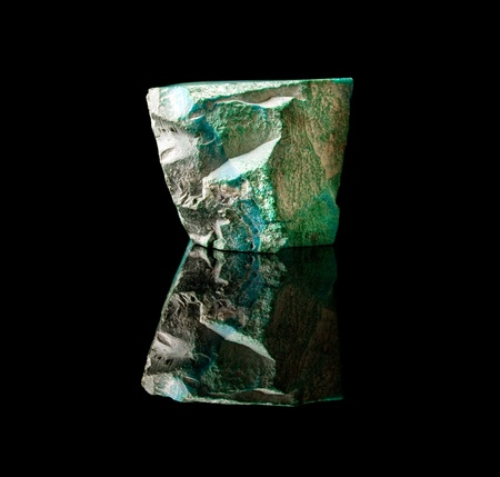 unpolished: Unpolished specimen of malachite, a semi-precious gemstone and copper carbonate hydroxide mineral
