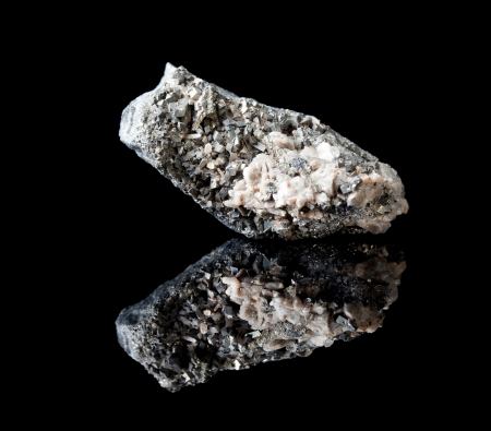 specimen: Rough specimen of pyrite and arsenopyrite crystals a mineral containing arsenic and iron Stock Photo