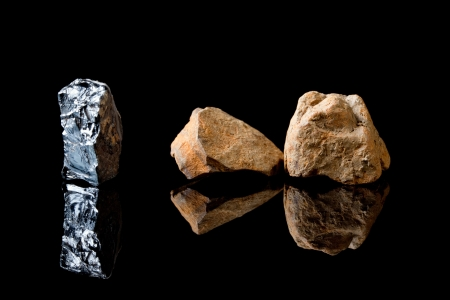 counted: Two forms of appearance of hematite mineral or iron oxide crystal, counted as one of the semi-precious gemstones Stock Photo