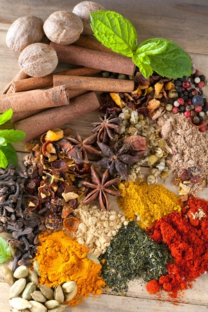 Spicy ingredients, herbs and teas on a wooden table photo
