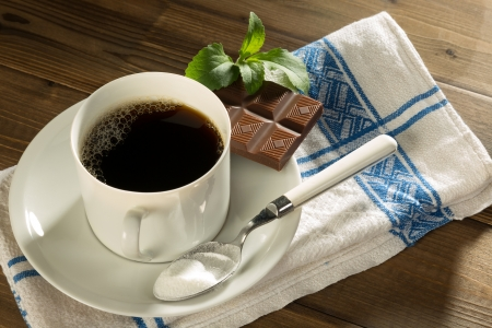 Chocolate and coffee sweetened with natural stevia and no sugar photo