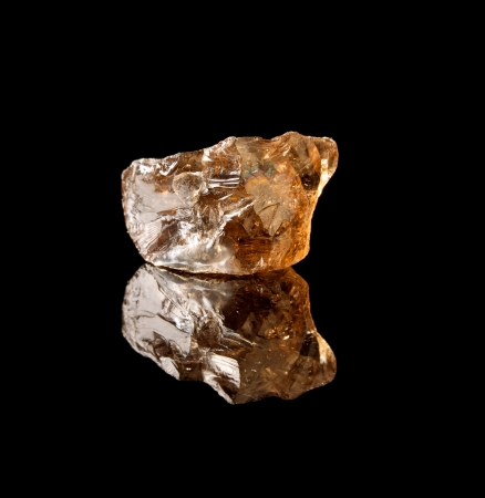 semiprecious: Unpolished piece of smokey quartz, a silicon dioxide crystal and semi-precious gemstone