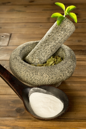 Natural sweetener Stevia as white powder and dried herb leaves Stock Photo - 14951293