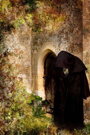 Halloween grunge scene of a creepy black hooded monk photo