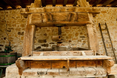 17th century: Historic Wine press with capstan, wine press, 17th century, Ungersheim Eco Museum, Alsace, France