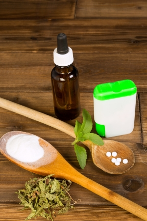substitute: Zero-calorie sweetener stevia as tabs, dried, liquid and powder Stock Photo
