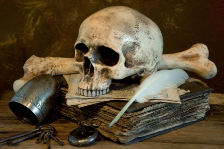 Old master photo of a skull on an antique book