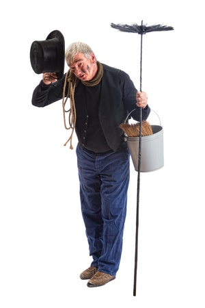 superstitions: Grungy chimney sweep greeting with his top hat