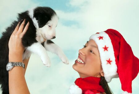 border collie puppy: Beautiful girl with santa hat holding a cute little border collie puppy