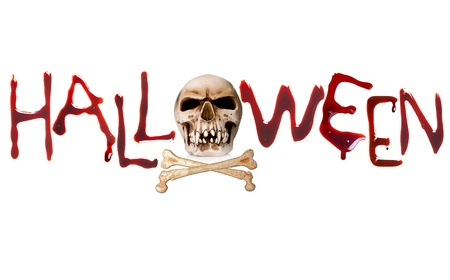 Bloody letters and a creepy skull for halloween Stock Photo