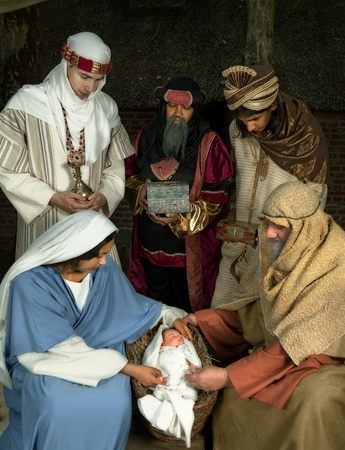 caspar: Live Christmas nativity scene reenacted in a medieval barn Stock Photo