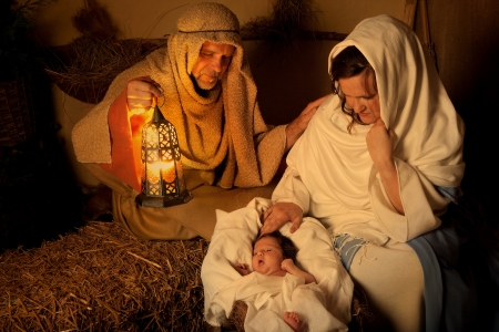 nativity: Living christmas nativity scene reenacted with a real 18 days old baby