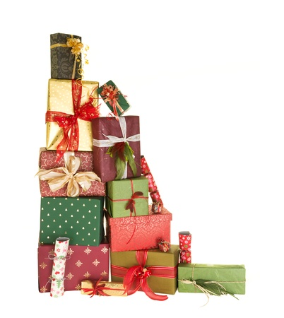 wrapped present: High up stack of christmas presents with beautiful decorative bows and feathers