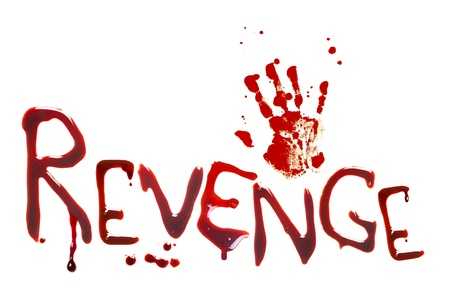 Bloody letters and a handprint showing revenge