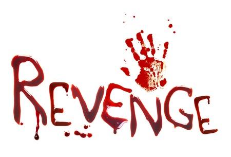 venganza: Cartas con sangre y una huella de la mano mostrando venganza