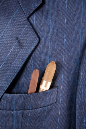 breast pocket: Formal suit with cigars symbolising a celebration