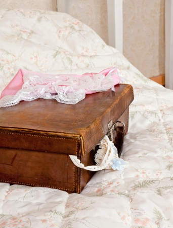 Old suitcase with sexy garter and lace lingerie Stock Photo - 16557157