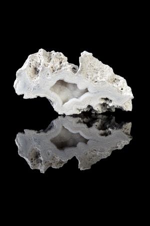 silica: Beautiful gray agate geode, a variety of silica, in rough unpolished state