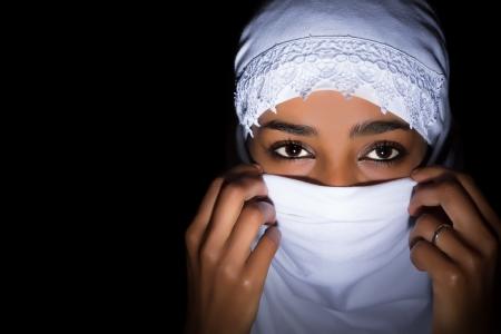 veiled: Ethiopian muslim woman wearing a white veil