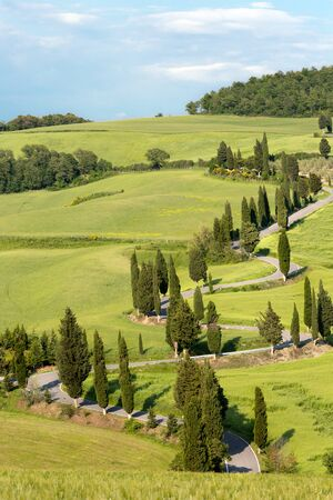 Winding road near Monticchiello in Tuscany Italy Stock Photo - 16924735