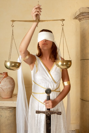 blind justice: Libra or Scales Stock Photo