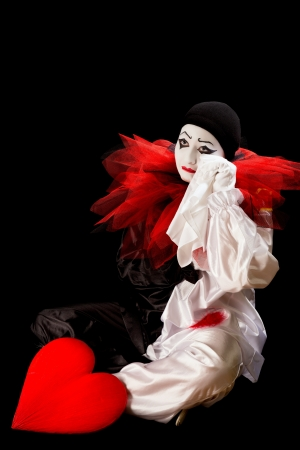 Sad Pierrot crying with a broken heart Stock Photo - 17213732