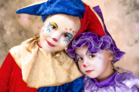 Cute portrait of two adorable little girls in clown disguise Stock Photo - 17341899