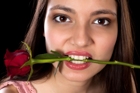 Attractive young woman holding a red rose in her mouth Stock Photo - 17341895