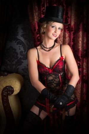 Elegant dancer in moulin rouge style corset of the twenties Stock Photo - 17448018