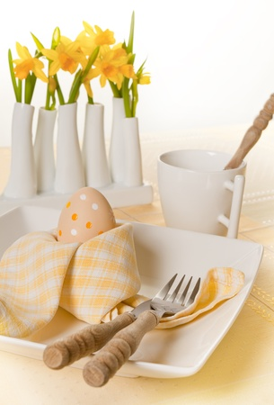 Folded napkin and daffodils on an Easter breakfast table Stock Photo - 17779435