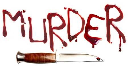 Bloody letters and sharp dagger as a symbol of murder and crime photo