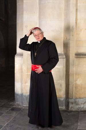 sotana: Comprobación cardenal madura es solideo o Zucchetta Foto de archivo