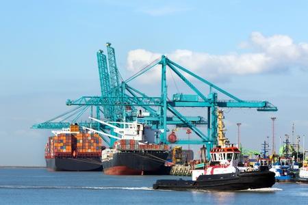 Grand navire porte-conteneurs en cours de déchargement avec des grues à Anvers terminal à conteneurs - tous les logos et marques reconnaissables ont été enlevés Banque d'images - 18547007